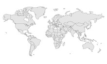 Map Template For Web Site Pattern, Infographics. Globe Similar World Map Icon. Travel Worldwide, Map Silhouette Backdrop.