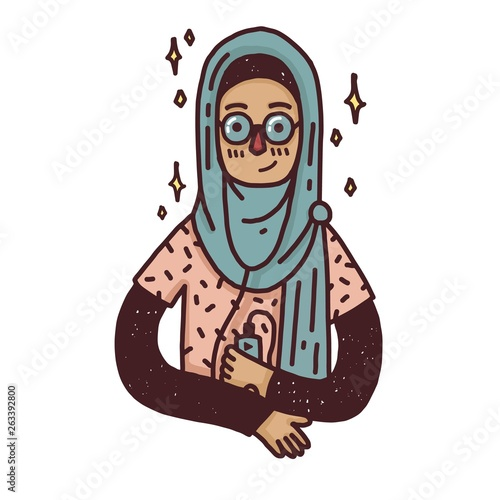 Design banner with a young muslim girl in glass  Cute