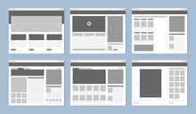 Website Layout. Web Pages Template Internet Browser Window With Banners And Ui Elements Icons Vector Design. Illustration Of Menu Site, Project Content Flowchart