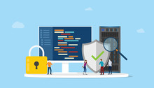 Network Programming Security Concept With Code Program And Server Safe Icon - Vector