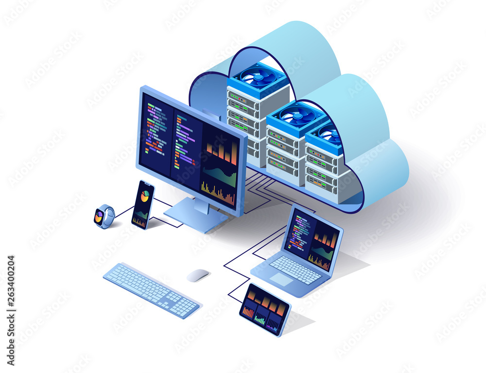 Fototapeta Cloud technology computing concept. Data center concept. Modern cloud technologies. Vector 3d isometric illustration network with computer, laptop, tablet, and smartphone. For web design, presentation