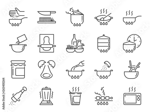 Fotomural Cooking line icon set