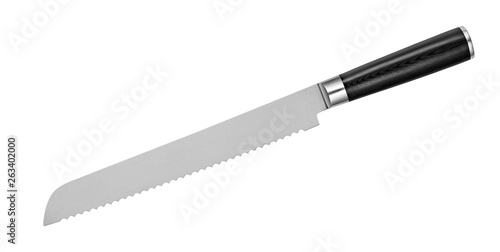 Fotografiet Japanese steel bread knife with serrated blade on white background