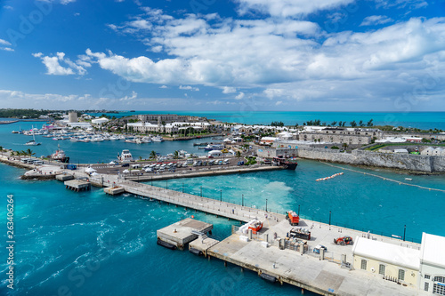port in bermuda island with docked boats. Canvas Print