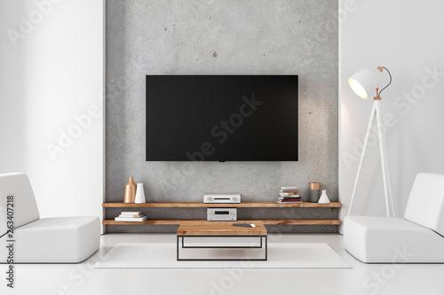 Obraz na plátně Smart Tv mockup hanging on the concrete wall in modern luxury interior