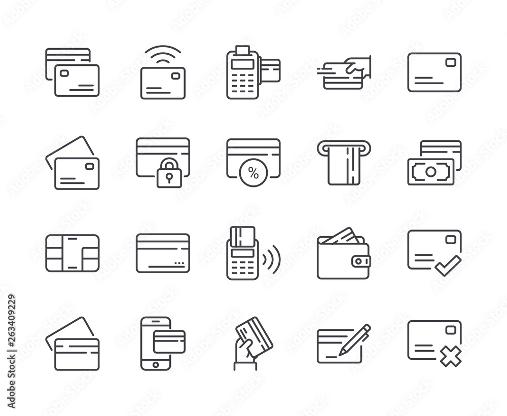 Fototapeta Simple Set of Credit Card Line Icon. Editable Stroke