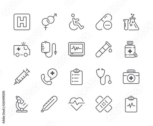 Fotografie, Obraz Simple Set of Medical Line Icon. Editable Stroke