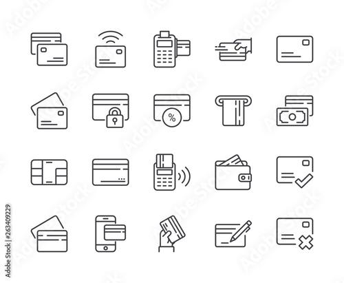Pinturas sobre lienzo  Simple Set of Credit Card Line Icon. Editable Stroke