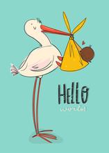 Hello World. Cartoon Stork Car...