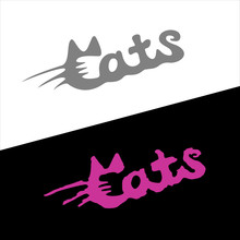 Cats Word Stylish Fashion Logo...