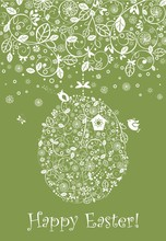 Easter Decorative Olive Green Greeting Card With Crochet Lacy Decoration, Hanging Floral Egg, Nestling Box And Funny Little Birds