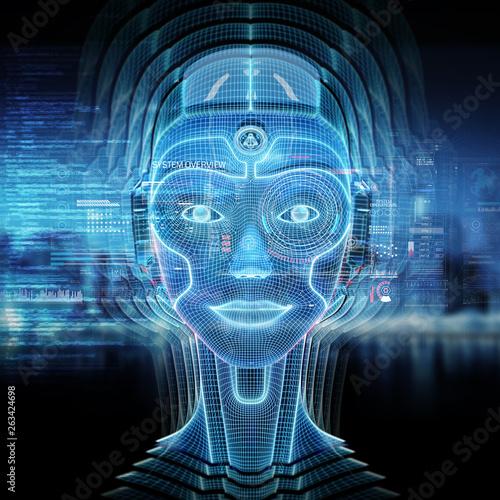 Poster de jardin Pierre, Sable Intelligent machine with a robotic cyborg head concept 3D rendering