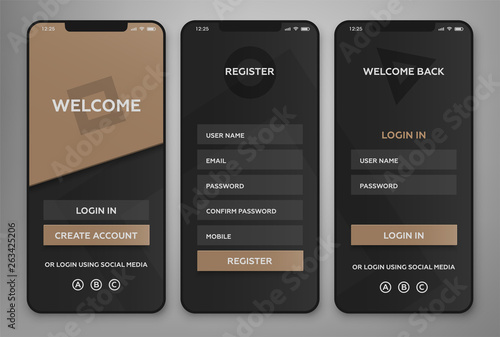 Photo UI, UX Mobile application interface design