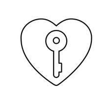 Old Key Heart Outline Icon. Linear Style Sign For Mobile Concept And Web Design. Key Heart Simple Line Vector Icon. Password Symbol