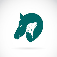 Vector Of Horse And Dog And Cat On White Background. Pets Logo Or Icon. Easy Editable Layered Vector Illustration. Animal. Pet.