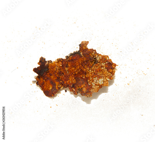 Closeup of a piece of rust isolated on a white background Wall mural