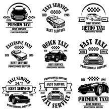 Set Of Taxi Service Emblems. Design Element For Poster, Card, Banner, Logo, Label.