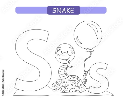 snake coloring page animals alphabet