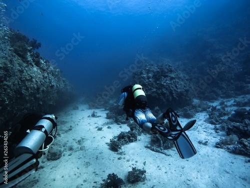 Valokuvatapetti Scuba diver descending to the bottom