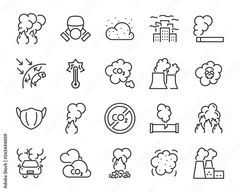 Fototapeta set of air pollution icons, such as dust, carbon, toxic, air filter