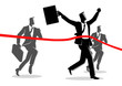 Running businessmen crossing finish line