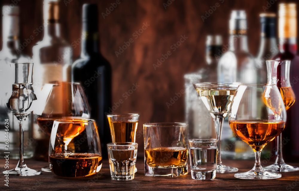Fototapeta Strong Spirits Set. Hard alcoholic drinks in glasses in assortment: vodka, cognac, tequila, brandy and whiskey, grappa, liqueur, vermouth, tincture, rum.