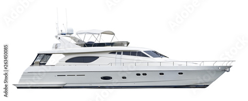 Photo  A private motor yacht, isolated on a white background
