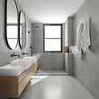 Leinwanddruck Bild 3d rendering of a modern minimal grey bathroom with oval mirrors