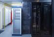 Clean industrial interior rack server hardware room in data center