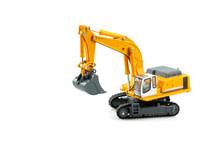 Yellow Excavator Model Toy Isolated On White Background.