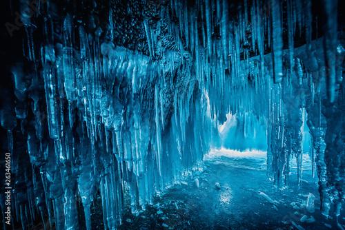 Fotografie, Obraz  Inside the blue ice cave at Lake Baikal, Siberia, Eastern Russia.