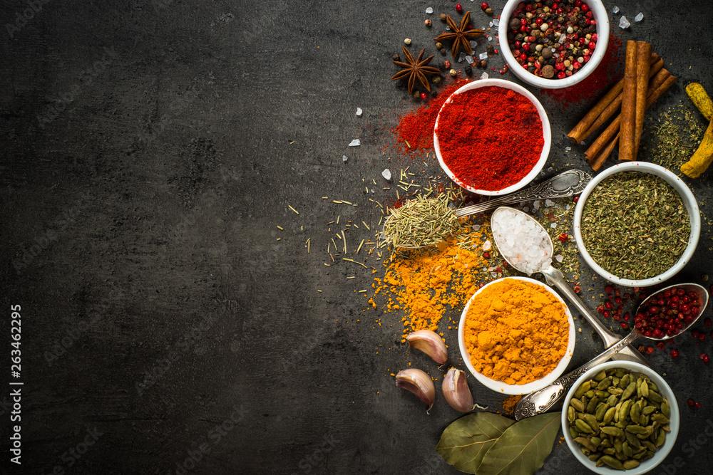 Fototapety, obrazy: Set of various spices on black background.