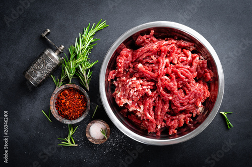 Fototapeta Mince. Ground meat with ingredients for cooking obraz