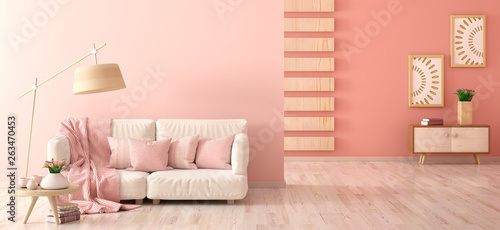 Fotografering  Interior design of modern living room with sofa , floor lamp and coffee table wi