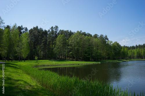Printed kitchen splashbacks River Lake landscape in Lithuania