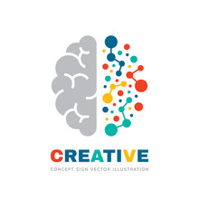 Creative Idea - Business Vector Logo Template Concept Illustration. Abstract Human Brain Sign. Geometric Colored Structure. Mind Education Symbol. Left And Right Hemisphere. Graphic Design Element.