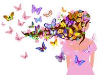 Fancy Girl With Butterflies Fo...