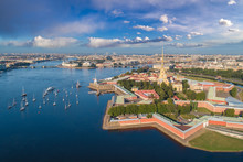 Saint Petersburg. Russia. Panorama View Of The Peter And Paul Fortress. Star Peter And Paul Fortress. Rabbit Island. Vasilyevsky Island. Neva River. Bridges Of St. Petersburg. Travel To Russia.