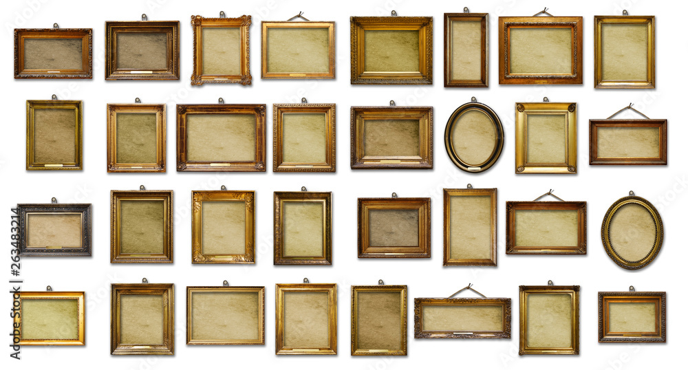 Fototapeta Set of three vintage golden baroque wooden frames on  isolated background