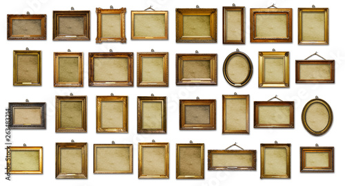 Foto op Canvas Retro Set of three vintage golden baroque wooden frames on isolated background