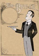 Illustration - Elegant Butler Holding Tray