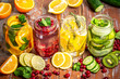 Healthy detox water with fruits. healthy lifestyle concept, overhead view