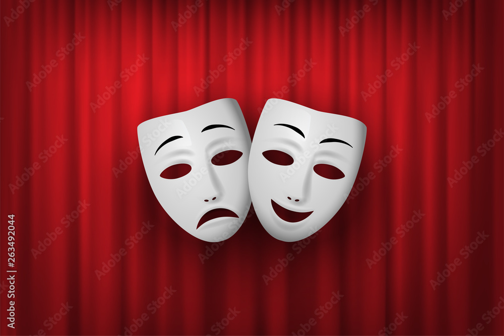 Fototapeta Comedy and Tragedy theatrical mask isolated on a red curtain background. Vector illustration.