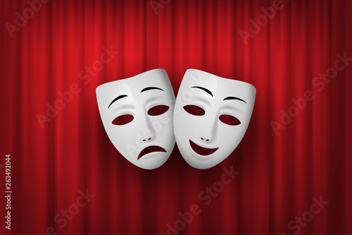 Fototapeta Comedy and Tragedy theatrical mask isolated on a red curtain background