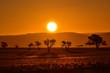 Sonnenuntergang in der Namib Naukluft Wüste in Namibia