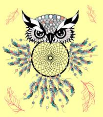 Color cute decorative ornamental Owl fall in love, doodle.