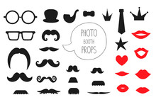 Vector Set Of Photo Booth Props. Illustration Of Moustache, Glasses, Lips, Heart, Crown, Pipe, Speech Bubble, Hat, Tie For Holiday Or Party. Moustache Season Poster. Photo Booth Props Picture