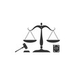 Scales of justice, gavel and book icon isolated. Symbol of law and justice. Concept law. Legal law and auction symbol. Flat design. Vector Illustration