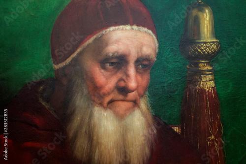 Detail of Portrait of Pope Julius II Wallpaper Mural