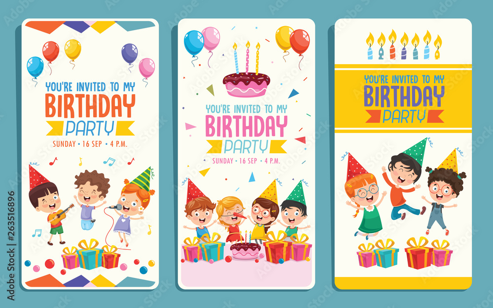 Obraz Vector Illustration Of Children Birthday Party